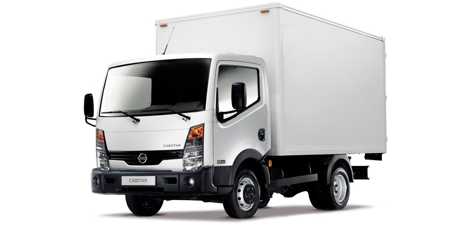 white Nissan NT-400 Cabstar front/side view