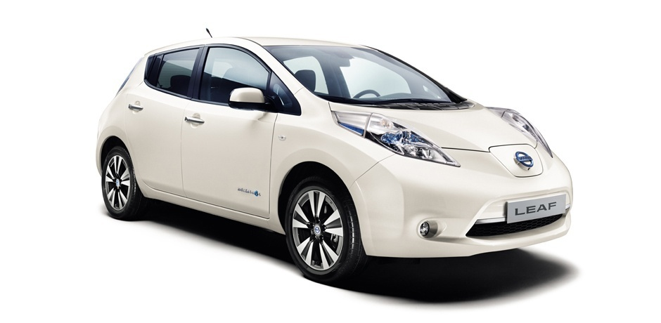 white Nissan Leaf front view