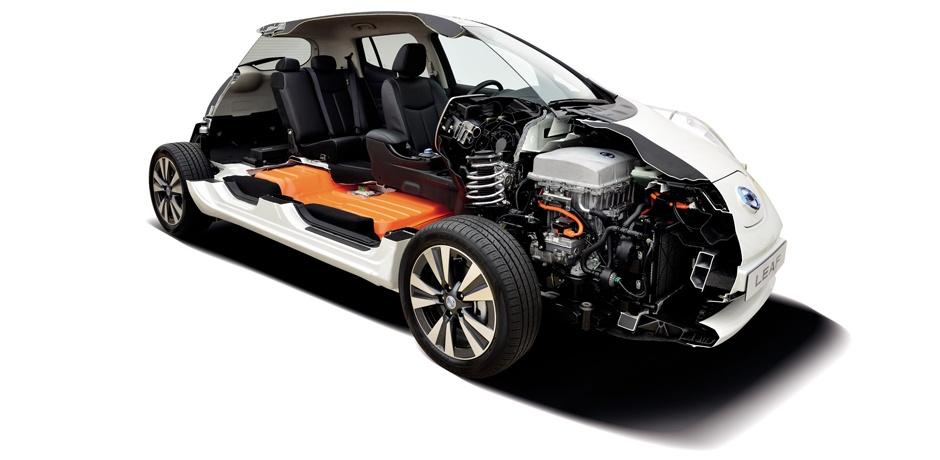 weißer Nissan Leaf Technologie