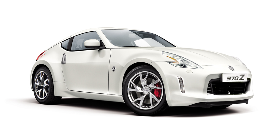 white Nissan 370z side/front view
