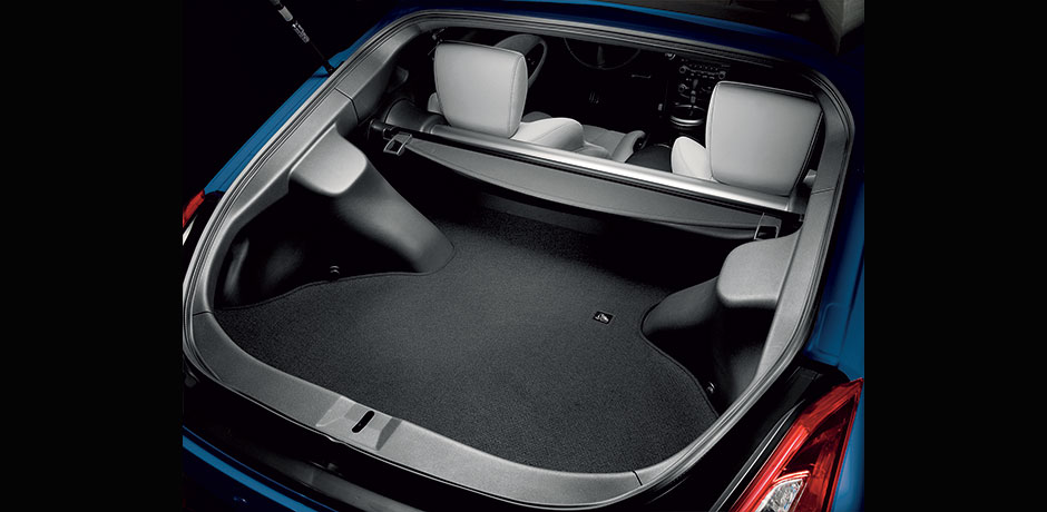 blue Nissan 370z cargo space