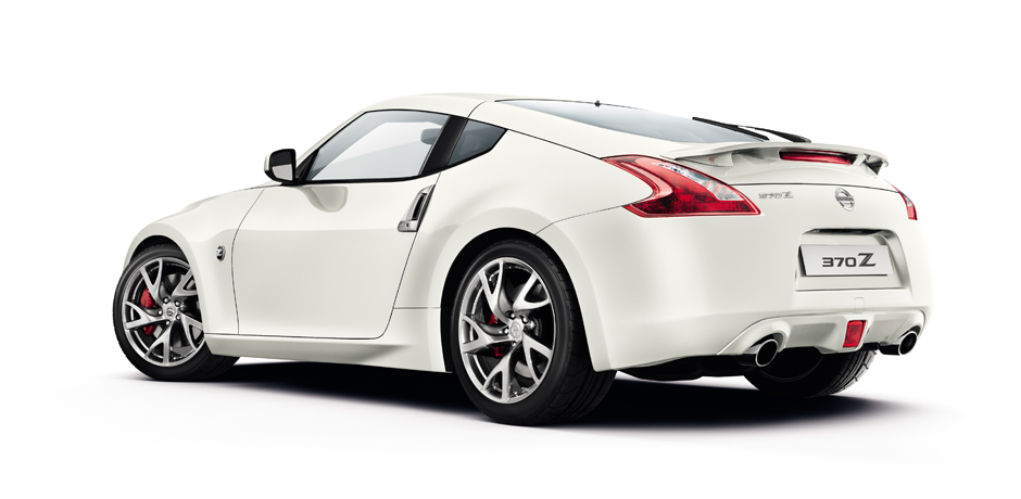 white Nissan 370z side/rear view