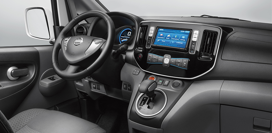 white Nissan e-NV200 interior