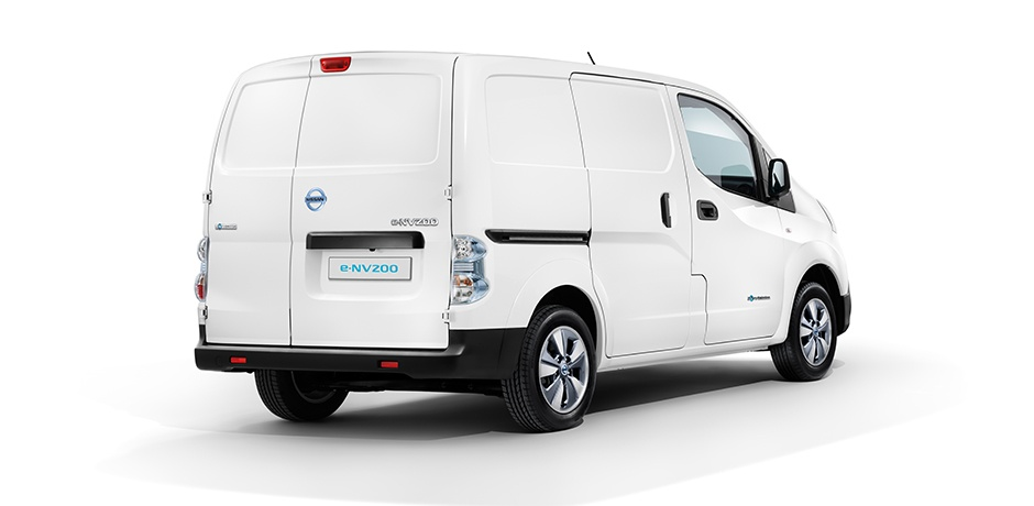 white Nissan e-NV200 rear/side view