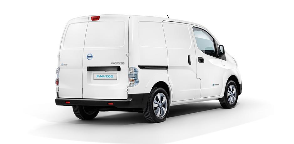 white Nissan e-NV200 rear/side view