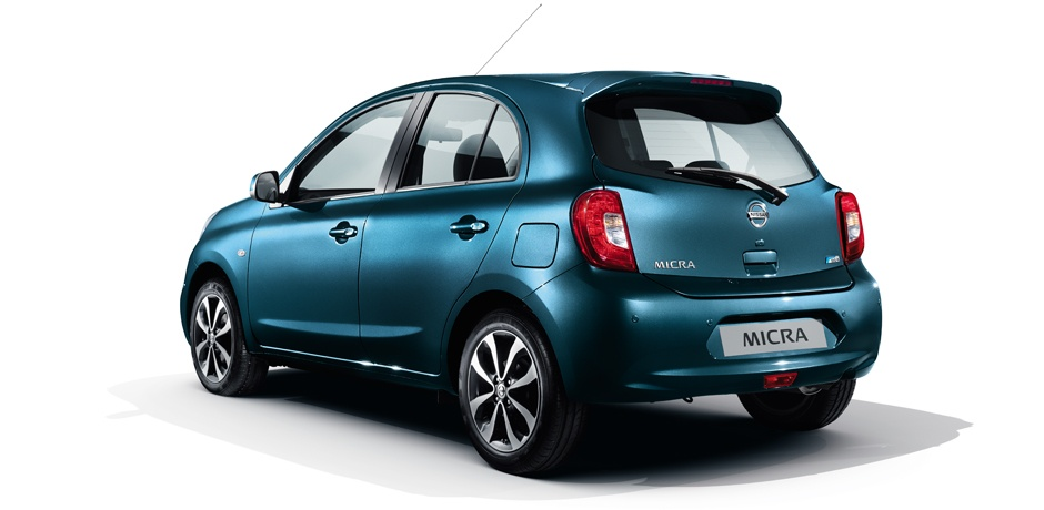 blue Nissan Micra rear view