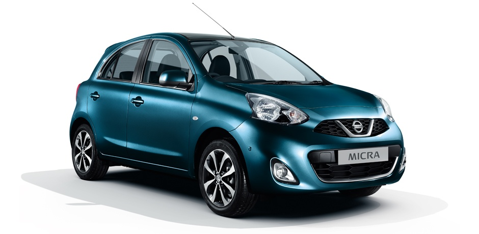 blue Nissan Micra front view