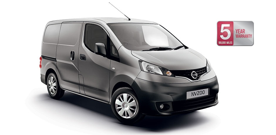 grey Nissan NV200 Van front/side view