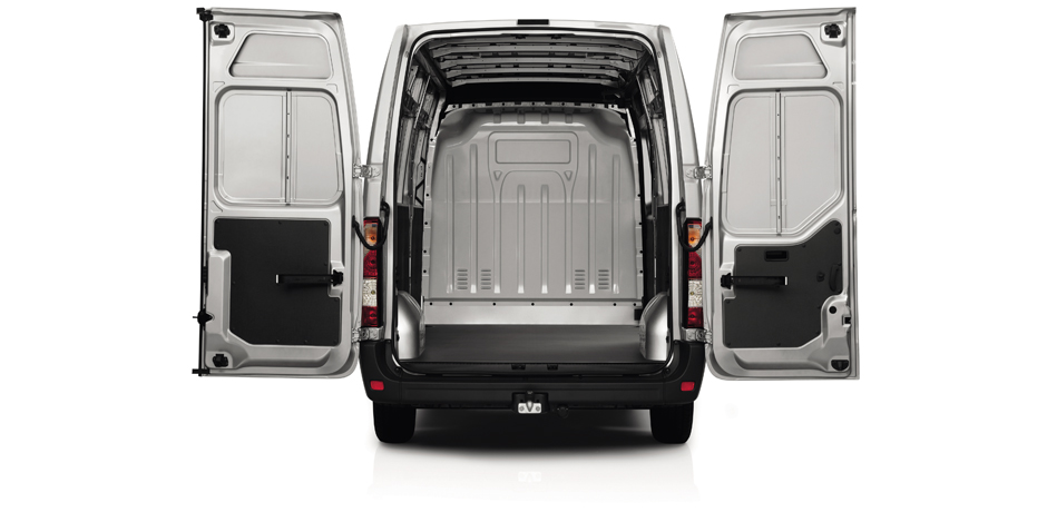 white Nissan NV400 cargo space